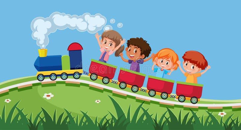 De Trein Van Kinderen Vector Illustratie Illustratie Bestaande