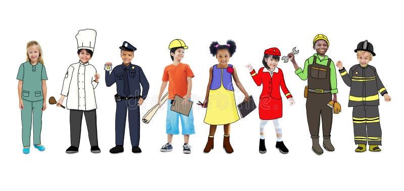 Kinderen die Droom Job Uniforms dragen royalty-vrije illustratie