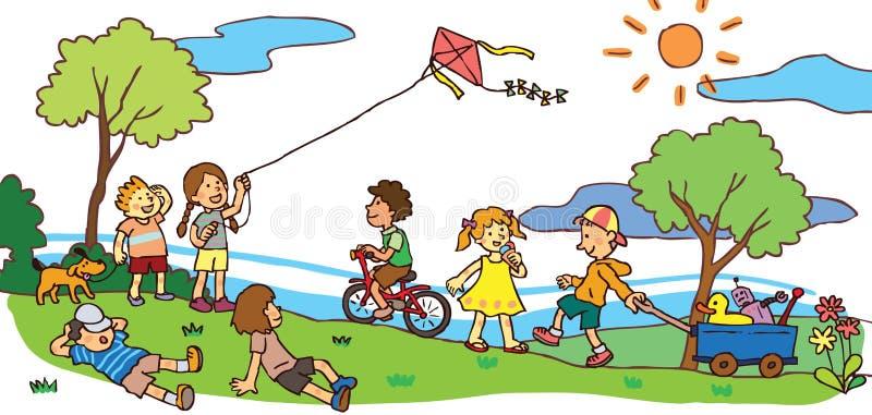 Kinderen die een goede tijd in de zomerlandschap hebben (v stock illustratie