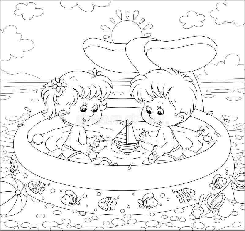 Kinderen die in een jonge geitjespool spelen op een strand stock illustratie