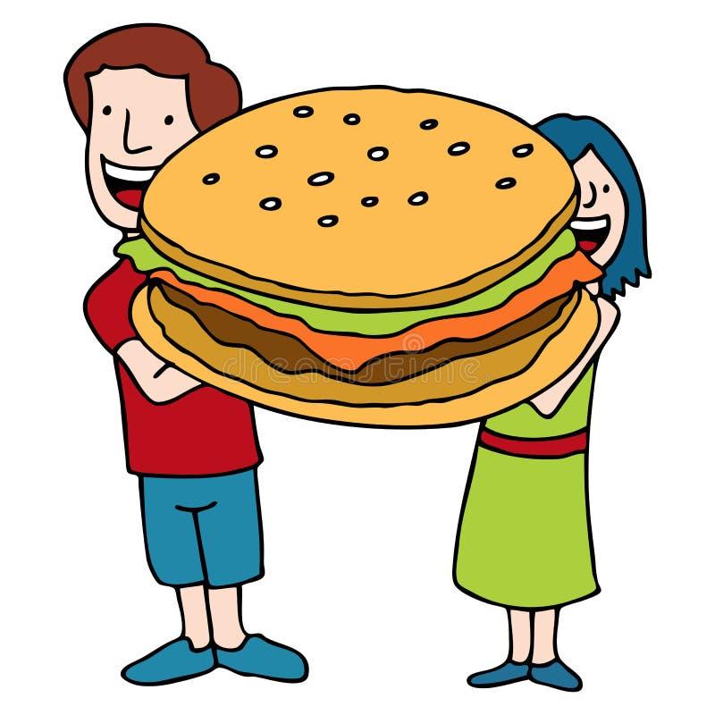 Kinderen die een Reuze Met maat Hamburger houden vector illustratie