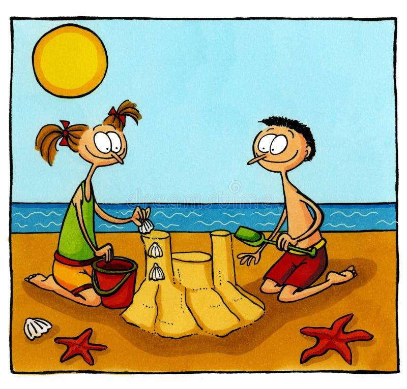 Kinderen die een zandkasteel bouwen royalty-vrije stock afbeeldingen