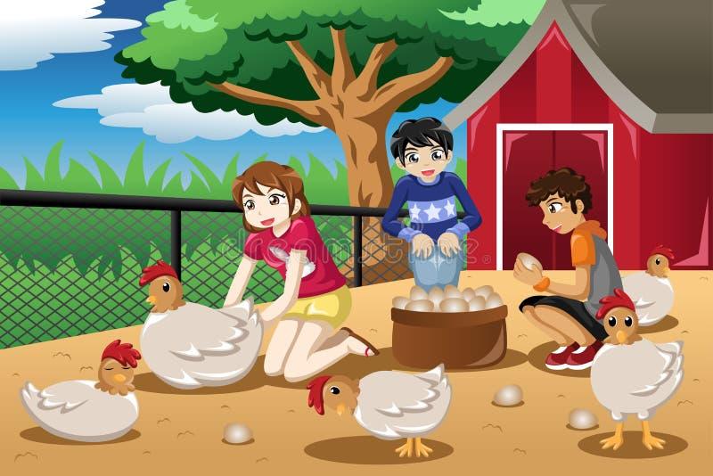 Kinderen die eieren van het landbouwbedrijf verzamelen royalty-vrije illustratie