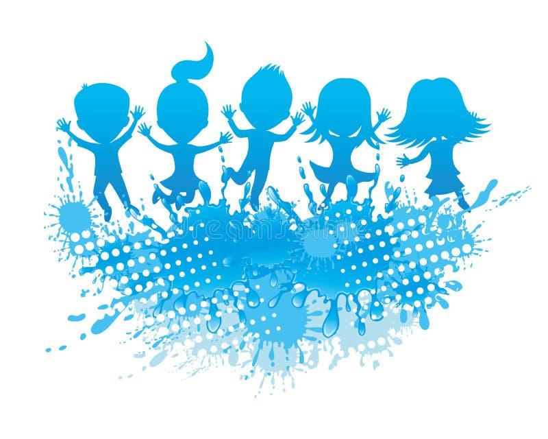 Kinderen die en water springen bespatten vector illustratie