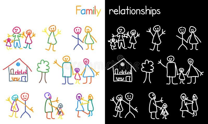 Kinderen die familieverhouding trekken vector illustratie
