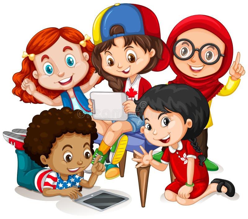 Kinderen die in groep werken royalty-vrije illustratie
