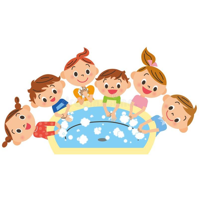 Kinderen die, hand wassen vector illustratie