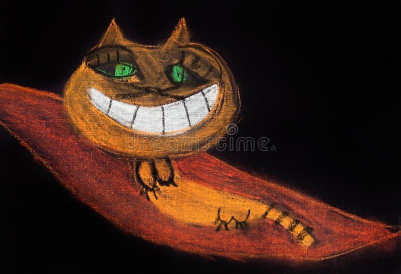 Kinderen die - het glimlachen kat trekken vector illustratie