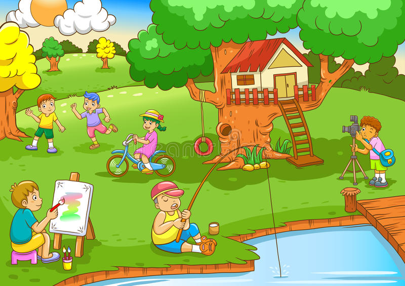 De kinderen die onder boom spelen huisvesten stock illustratie