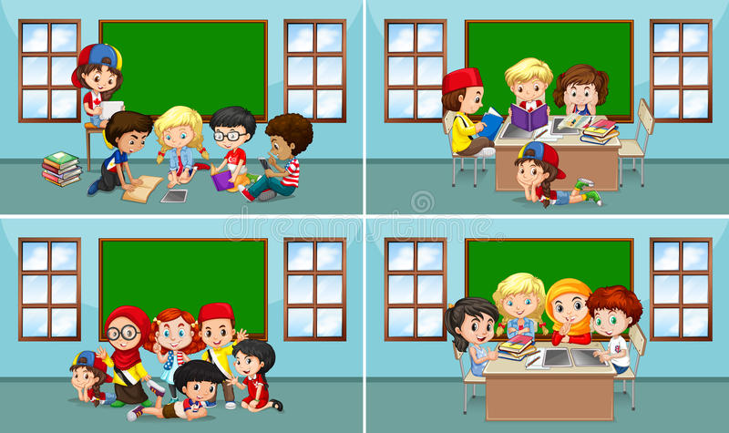 Kinderen die in het klaslokaal werken stock illustratie
