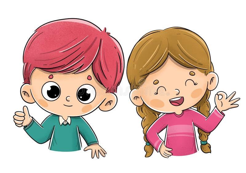 Kinderen die het o.k. teken maken royalty-vrije stock afbeeldingen