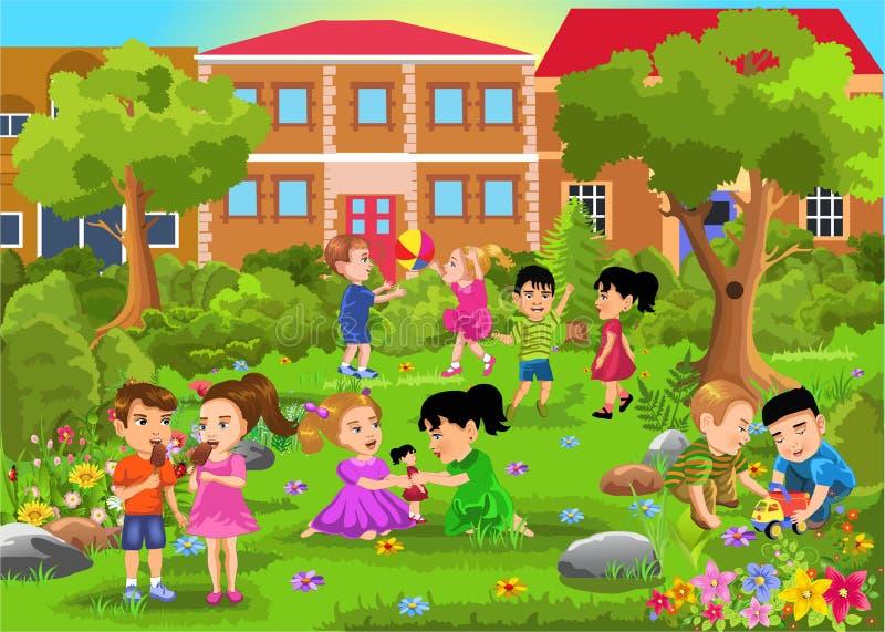 Kinderen die in het park spelen royalty-vrije illustratie