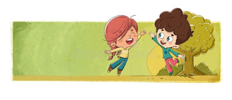 Kinderen die in het park spelen die de hand verpletteren royalty-vrije illustratie