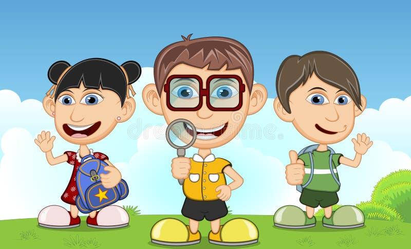 Kinderen die in het parkbeeldverhaal spelen royalty-vrije illustratie