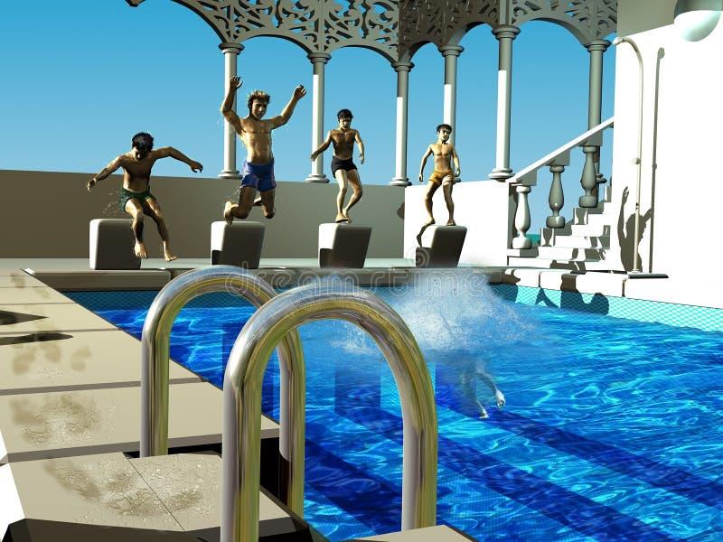 Kinderen die in het zwembad duiken stock illustratie