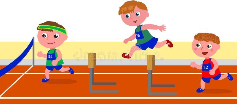 Kinderen die hindernisrace in werking stellen vector illustratie