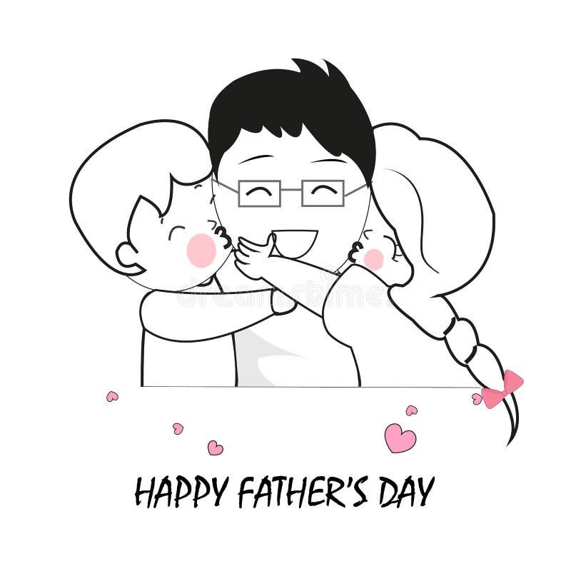 Kinderen die hun dads koesteren Vader, zoon en dochter Gelukkige de groetkaart van de Vader` s dag royalty-vrije illustratie