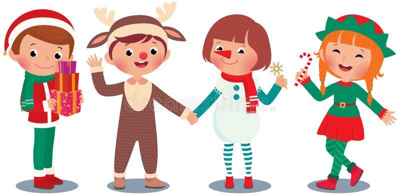 Kinderen die Kerstmis in Kerstmiskostuums vieren royalty-vrije illustratie