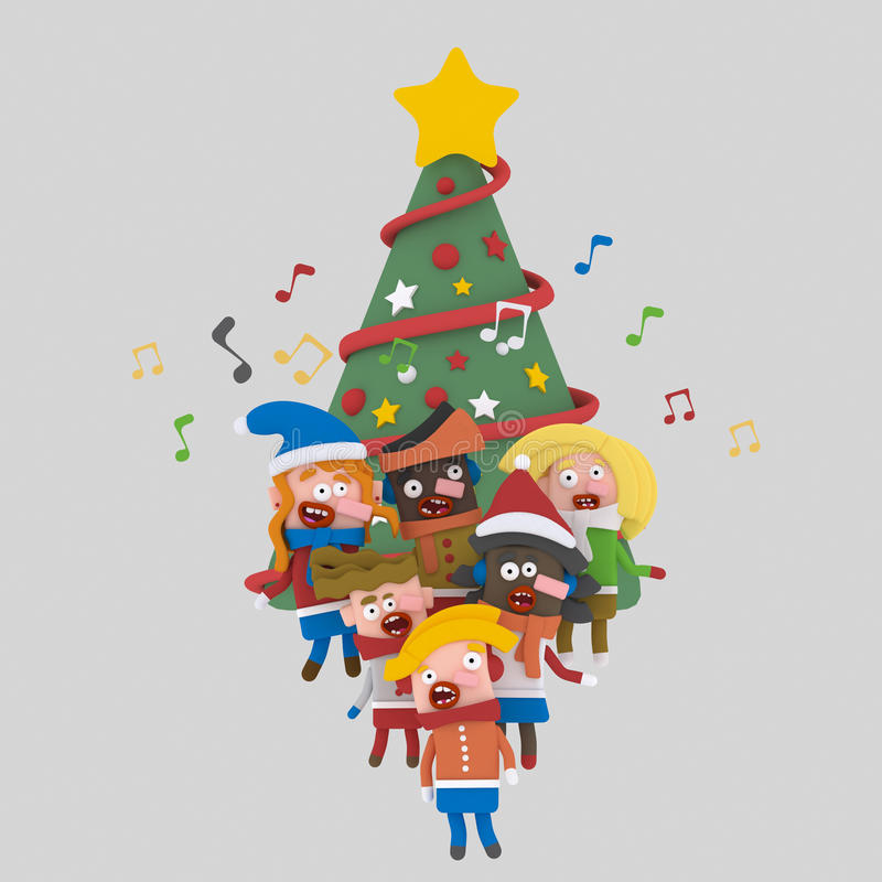 Kinderen die Kerstmislied zingen 3d stock illustratie