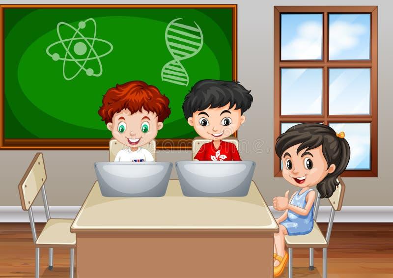 Kinderen die in klaslokaal werken stock illustratie