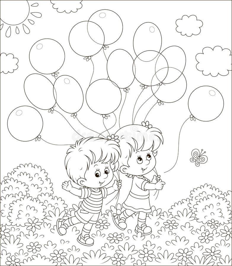 Kinderen die met ballons lopen vector illustratie