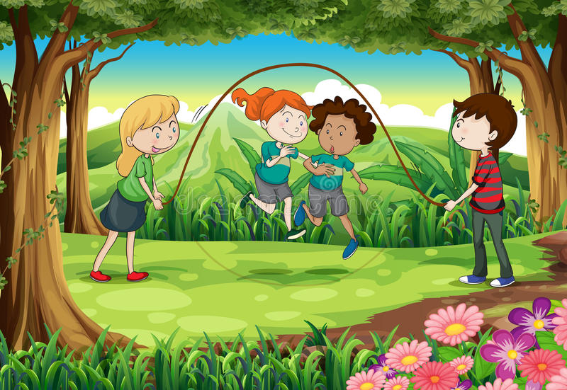Kinderen die met de kabel bij de wildernis spelen stock illustratie