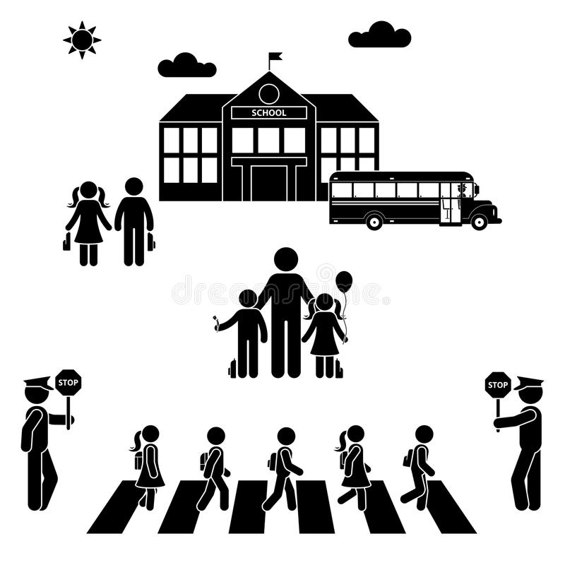 Kinderen die naar de schoolbouw gaan Jongens en meisjes die het cijfer van de zebrapadstok kruisen vector illustratie
