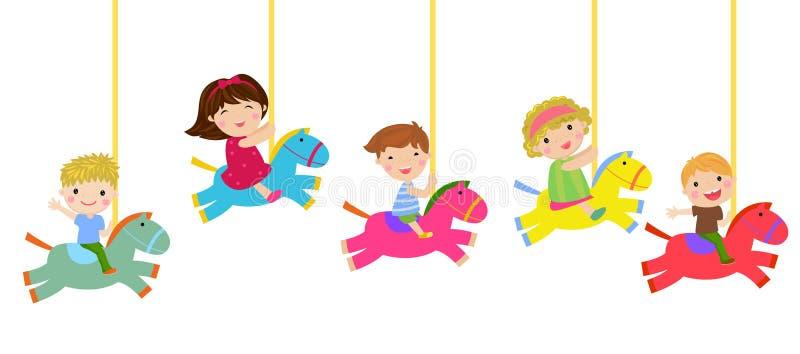 Kinderen die op de carrousel spelen royalty-vrije illustratie