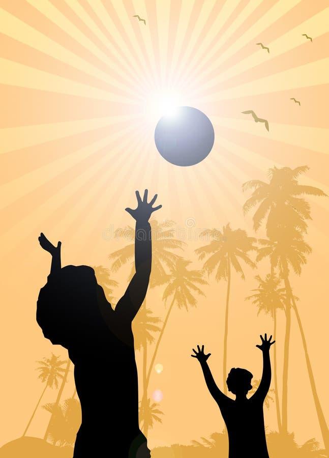 Kinderen die op de strandzomer spelen royalty-vrije illustratie