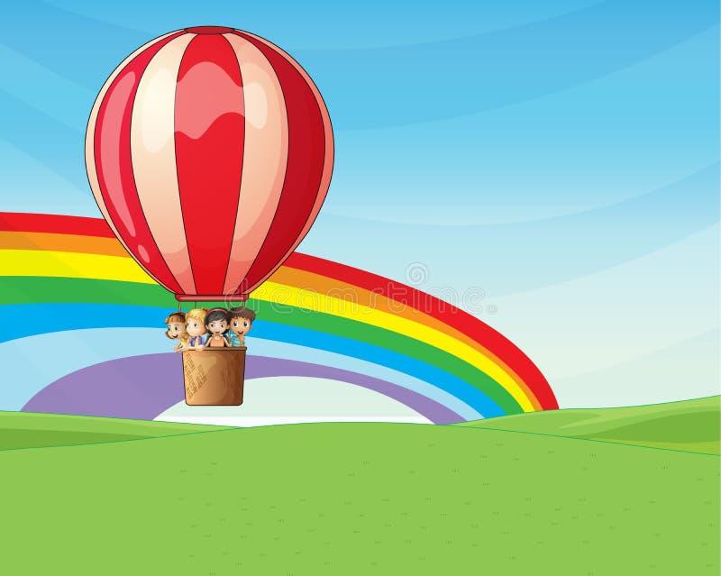 Kinderen die op een hete luchtballon berijden stock illustratie