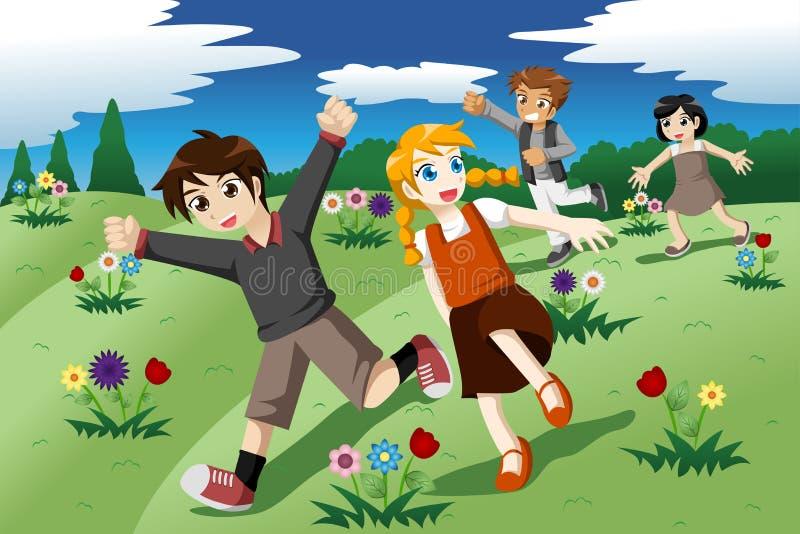 Kinderen die op het open gebied van wilde bloemen lopen royalty-vrije illustratie