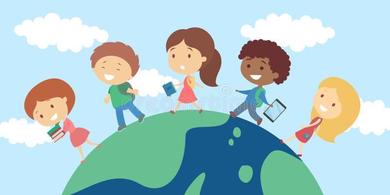 Kinderen die op planeet lopen royalty-vrije illustratie