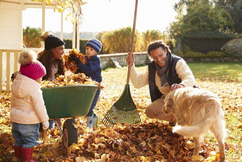 Kinderen die Ouders helpen om Autumn Leaves In Garden te verzamelen royalty-vrije stock fotografie