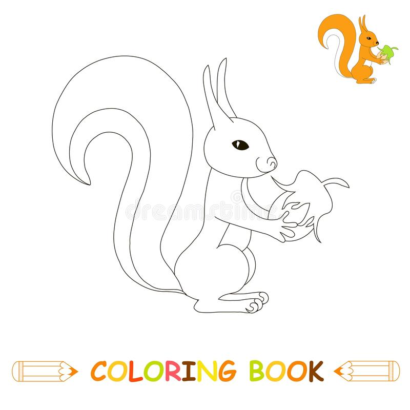 Kinderen die pagina vectorillustratie, leuke eekhoorn in zwart-wit en kleurenversie kleuren voor jonge geitjes vector illustratie