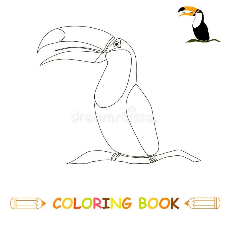 Kinderen die pagina vectorillustratie, leuke toekan kleuren vector illustratie