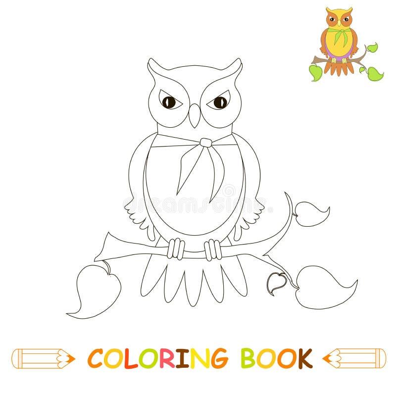 Kinderen die pagina vectorillustratie, leuke uil in zwart-wit en kleurenversie kleuren voor jonge geitjes stock illustratie