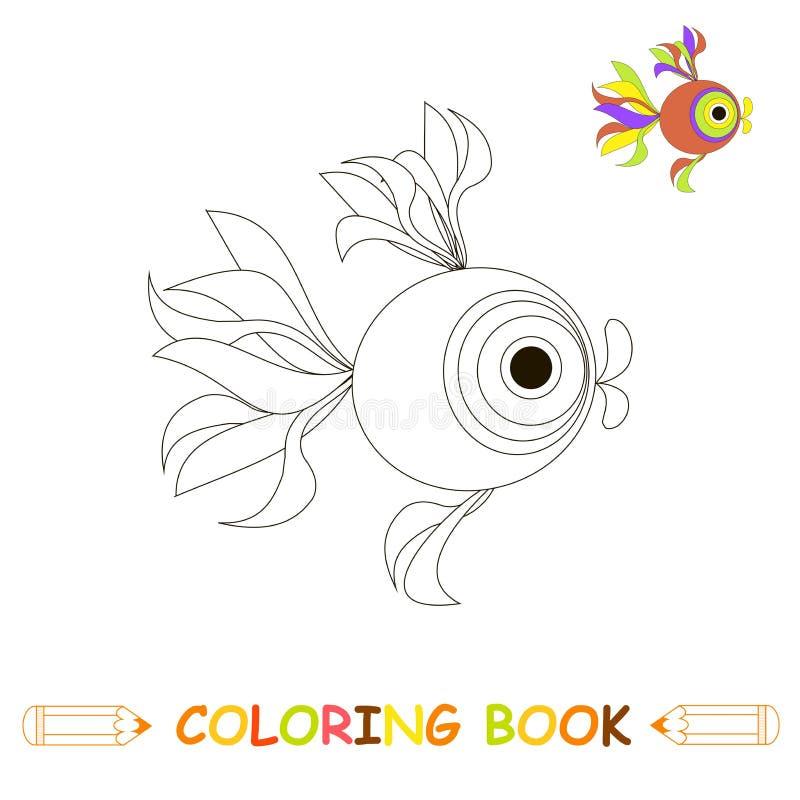Kinderen die pagina vectorillustratie, leuke vissen in zwart-wit en kleurenversie kleuren voor jonge geitjes stock illustratie