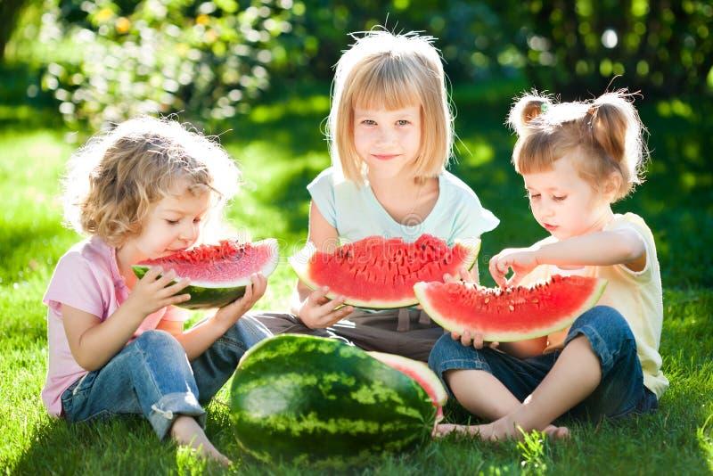 Kinderen die picknick hebben royalty-vrije stock afbeeldingen