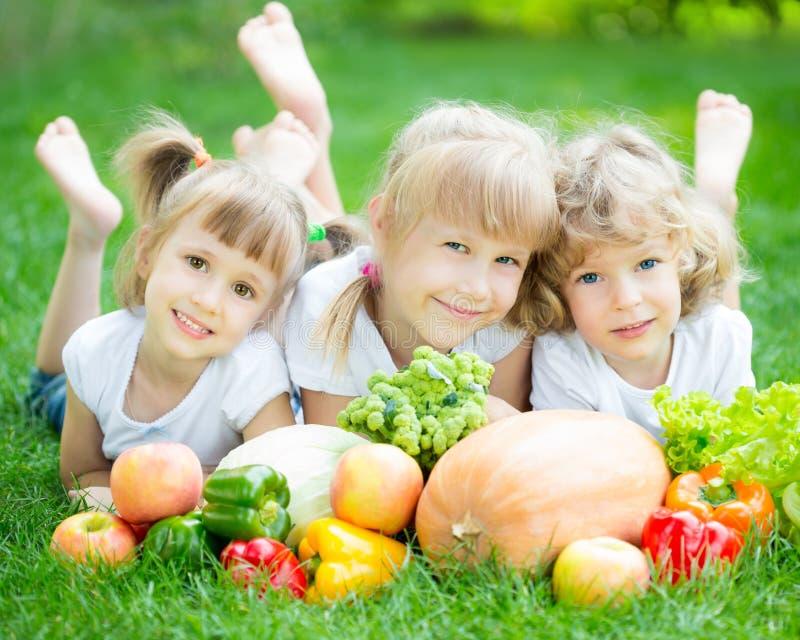 Kinderen die picknick hebben in openlucht stock fotografie