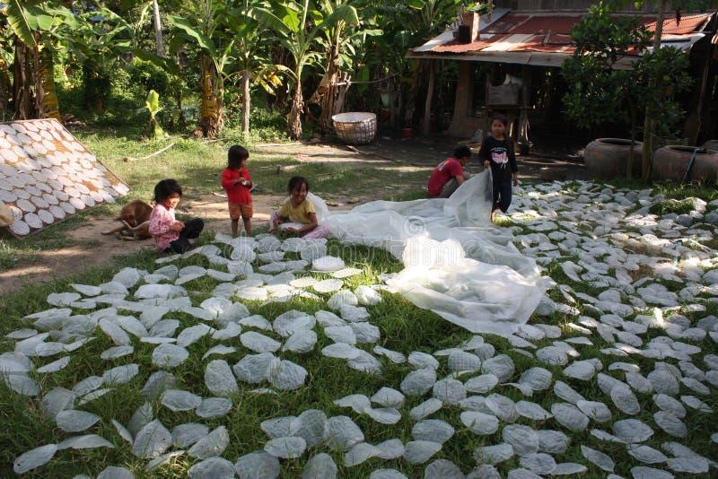 Kinderen die rijstpapier maken dichtbij Battambang, Kambodja stock foto's