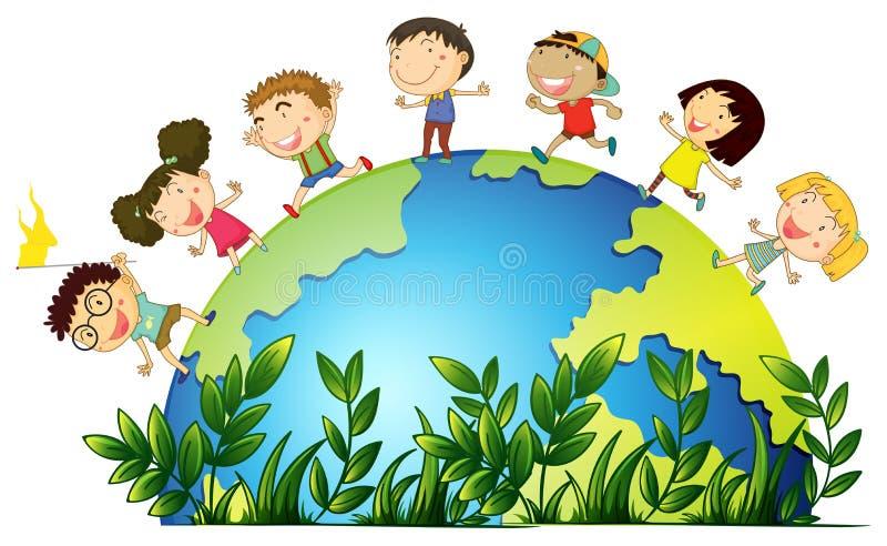 Kinderen die rond de bol lopen stock illustratie