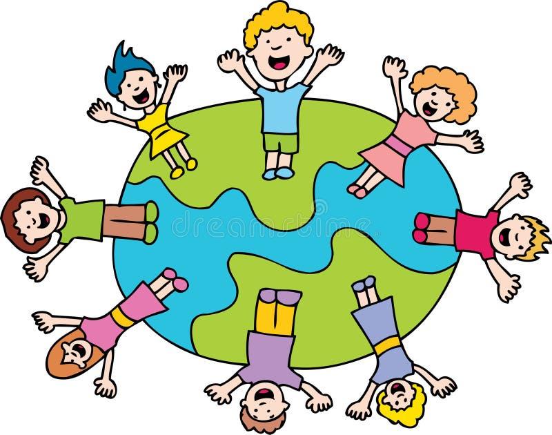 Kinderen die rond de Wereld golven stock illustratie
