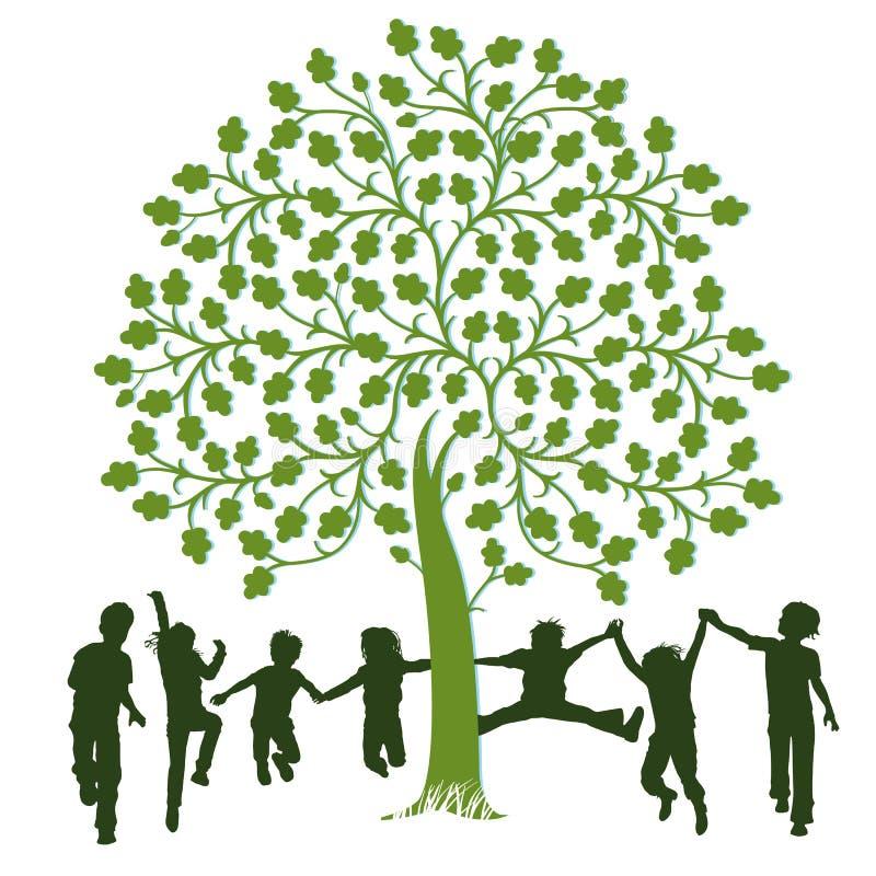 Kinderen die rond een boom spelen royalty-vrije illustratie
