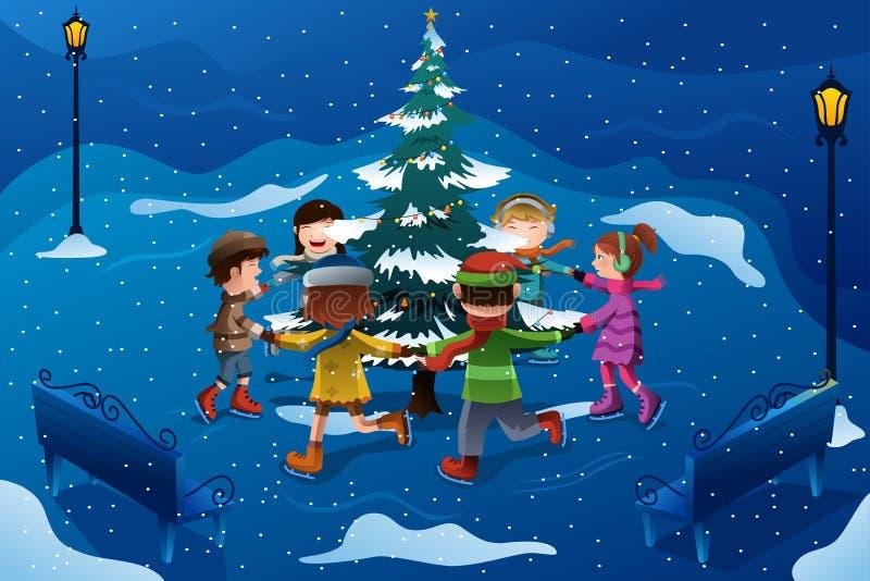 Kinderen die rond een Kerstboom schaatsen vector illustratie