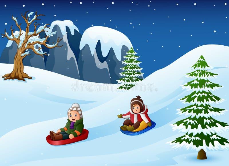 Kinderen die in sneeuw bergaf sledding vector illustratie