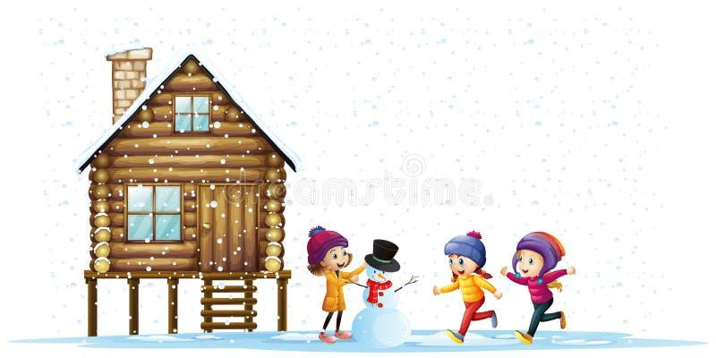 Kinderen die in sneeuw door de hut spelen vector illustratie