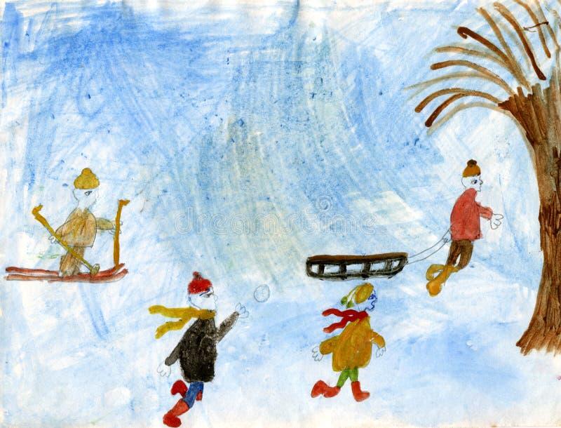 Kinderen die sneeuwballen spelen vector illustratie