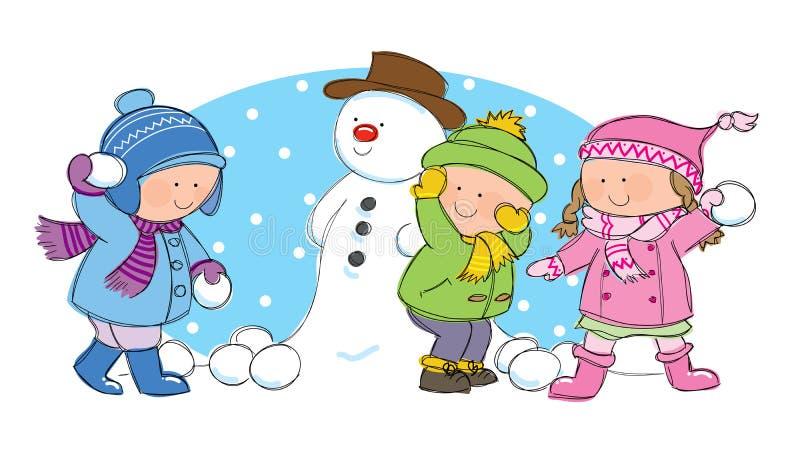 Kinderen die sneeuwbalstrijd hebben stock illustratie