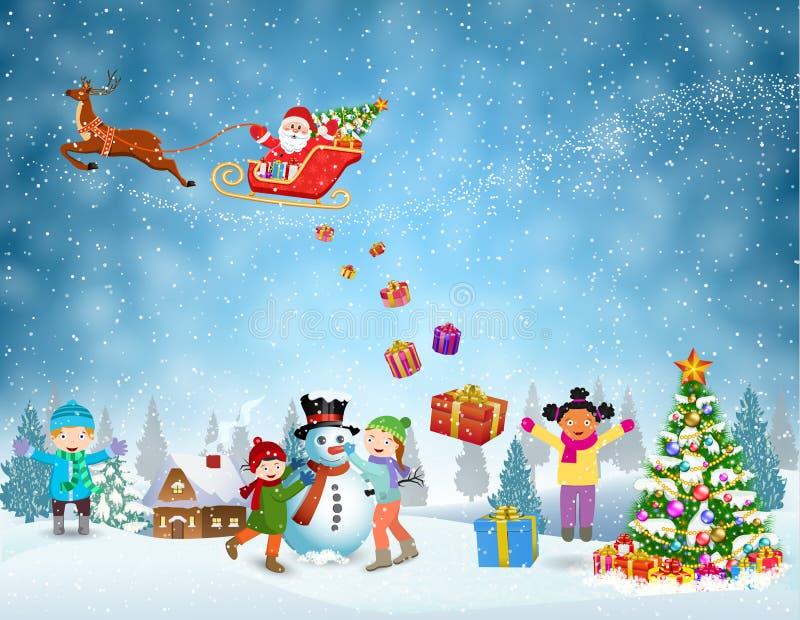 Kinderen die sneeuwman bouwen vector illustratie