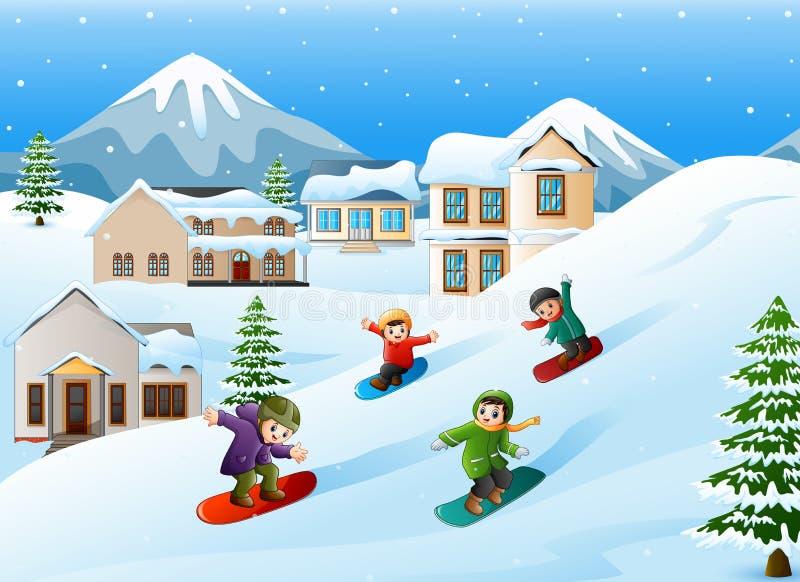 Kinderen die snowboarder onderaan heuvel glijden stock illustratie